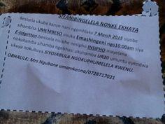 Invitation card from kwangubane