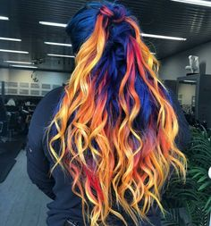 This 'Blue Phoenix' Dye Job Seamlessly Combines Fire and Ice Hair Colors Custom Colored Glam Seamless Extensions! Love this Blue Phoneix dye job with seamlessly blended blue, red and gold pieces. Hair Color Blue, Hair Dye Colors, Cool Hair Color, Blue Colors, Cool Hair Dyed, Rainbow Hair Colors, Fire Hair Color, Fire Ombre Hair, Blue Yellow