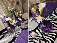 Since my husband was scheduled to be out of town for my birthday weekend, I decided I would have a big girly celebration! I know kids' event. Zebra Print Party, Zebra Print Birthday, Purple Birthday, Purple Party, 65th Birthday Party Ideas, 33rd Birthday, Birthday Parties, Rockstar Birthday, Creative Party Ideas