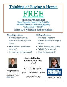 First Time Home Buyer Seminar Flyer  Real Estate And Estate Agents