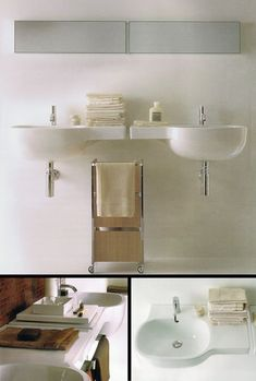 Suppliers of designer wall mounted wash basins that have offset side shelves. Storage Shelves, Shelf, Large Bathrooms, Small Bathroom, Small Vanity, Wall Hung Vanity, Downstairs Loo, Family Bathroom