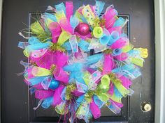 Spiral Sparkle Blue, Pink, Green Deco Mesh Wreath.