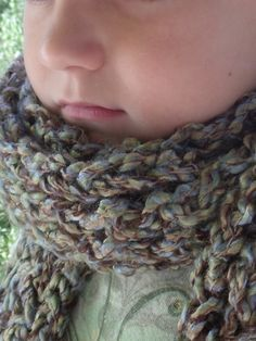 Knit Scarf in Blues Greens and Browns  by SheilasBlessings on Etsy, $10.00