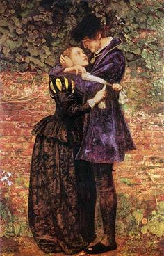 A Huguenot, on St. Bartholomew's Day, Refusing to Shield Himself from Danger by Wearing the Roman Catholic Badge (1852) -  John Everett Millais (attributed to James Collinson in strange spanish blog - sigh!!!)