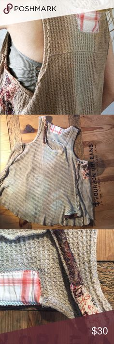 """Upcycled oversized sleeveless tank S This one was also patched only because I was already patching other stuff -- patches hide no holes. Color is a washed out two-toned grayish greenish brown. Again, I'm not a seamstress and I never aim for perfection when I patch anything so only buy if that's acceptable to you & inspected the images. Top is very comfortable & versatile. Soft & thick & seriously oversized. Widest part is 30"""" laying flat but it sits stably on the shoulders & stays in place…"""