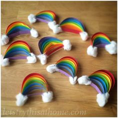 10 Fun Kids Rainbow Crafts – diy Thought Mini Paper Rainbows. The post 10 Fun Kids Rainbow Crafts – diy Thought appeared first on DIY Crafts. Paper Crafts For Kids, Craft Stick Crafts, Preschool Crafts, Easter Crafts, Paper Crafting, Diy For Kids, Fun Crafts, Diy And Crafts, Decor Crafts