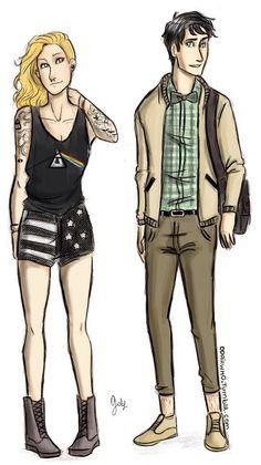 Punk Annabeth and Preppy Percy.