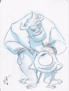 [NO LONGER AVAILABLE] Mike & Sully from Monsters University by Veronica Valencia. Original 6X8 pencil & watercolors art, signed, on heavy paper with rounded corners.