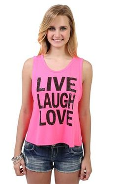 Deb Shops tulip back tank top with #live #laugh #love screen print