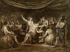 Achilles Swears an Oath to Avenge the Dead Patroclus Killed by Hector. 1808.Bartolomeo Pinelli. Italian 1781-1835. pen and black ink with brown and gray washes over graphite.http://hadrian6.tumblr.com