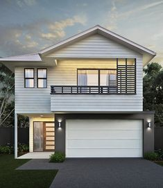 Kalka Facade - Luxury Home Builders Brisbane House Arch Design, Bungalow House Design, Modern House Design, Townhouse Exterior, Modern Townhouse, House Cladding, Facade House, New Home Designs, Cool House Designs