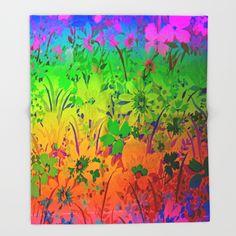 Floral Rainbow Throw Blanket