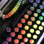 """Washington-based painter Tyree Callahan modified a 1937 Underwood Standard typewriter, replacing the letters and keys with color pads and hued labels to create a functional """"painting"""" device called the Chromatic Typewriter. After I get my real typewriter, I want this one."""