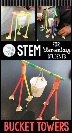 What a perfect and easy prep STEM Challenge this is! Elementary students will enjoy creating the tower that must have a bucket suspended. You will love the ease of the Teachers Guide and the helpful hints to make this a success. Includes lab sheets, constraints, scoring rubric, and photos! This is a perfect challenge for those long winter months! #stem #elementary #lesson plans