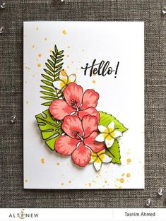 With this easy layering stamp set, you can surround yourself with the tropical flowers of Hawaii right in your craft room! It is a must-have for every card maker out there. Stampin Up Karten, Stampin Up Cards, Altenew Cards, Tropical Flowers, Tropical Leaves, Hibiscus Flowers, Card Maker, Scrapbook Paper Crafts, Dibujo