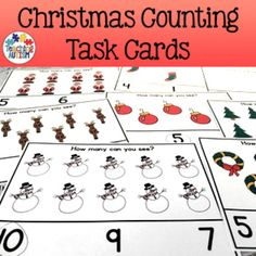 This resource contains 40 different counting task cards linked to the theme of Christmas. There are 4 task cards per page to cut down on your printing. I would highly recommend laminating each of the individual task cards so that they will be stronger, longer lasting and re-usable so you can pull them out each year.The cards come in b/w and col option for your preference.Students count the amount of objects they see then select the correct answer out of 3 choices on the bottom of the task…