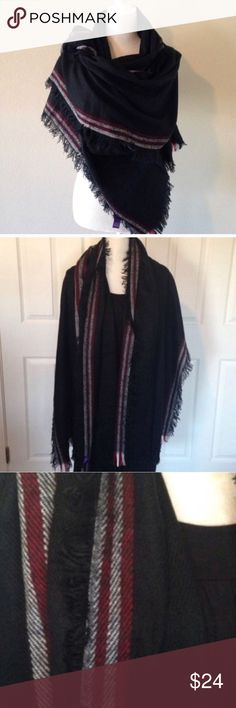 Madden Girl Blanket Scarf Black and burgundy stripe blanket wrap/scarf. Warm and soft. Can be worn many ways. Madden girl color block striped blanket scarf. Fringed edges. Acrylic. 33'' wide x 72'' long Madden Girl Accessories Scarves & Wraps