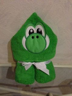 Yoshi Dinosaur Hooded Towel by RainDanceDesignzShop on Etsy, $30.00