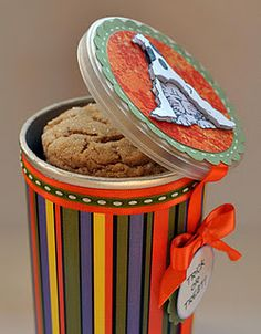 Recycle those Pringles cans.  What an extra special gift these would make.  This would be great projects for youth groups too.  Takes me back to Cub Scout and Camp Fire days.