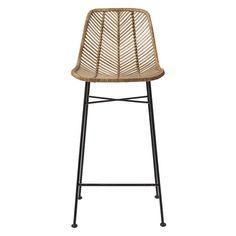 Chaise de bar en rotin naturel pied métal Bloomingville -Naturel