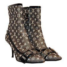 Louis Vuitton Black Denim Mini Lin Booties found on Polyvore