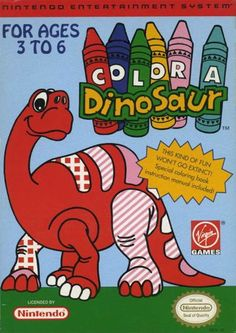 #Color A Dinosaur - Label or Box Art #nintendo games #gamer #snes #original #classic #pin #synergeticideas #gameon #play #award