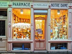 At the pharmacy in Boulogne-sur-Mer old town (France), Charles Dickens used to shop here when he lived in the town storefront design Shop Front Design, Store Design, Store Front Windows, La Petite Boutique, Shop Facade, Shop Fronts, Shop Around, Facade Design, Shop Window Displays