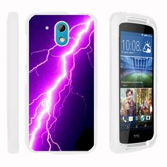 HTC Desire 526G Case SNAP SHELL White 3 IN 1- Slim Hard Fitted Case - Purple Lightning Bolt