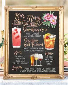 Digital Printable Wedding Signature Drinks Sign, Wedding Signature Cocktails Sign, Chalkboard Bar Menu, Wedding Cocktails Bar Signs, Chalkboard Sign, Wedding Bar Menu Sign, Wedding Bar Sign, Wedding Cocktails Bar Sign, Open Bar Sign, Wedding Signage, Wedding Reception Signs,