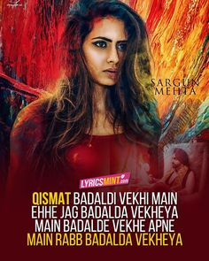 Qismat Lyrics of Ammy Virk song of 2017 featuring Sargun Mehta. The Punjabi sad song is composed by B Praak while lyrics are penned by Jaani. Romantic Song Lyrics, Best Song Lyrics, Beautiful Lyrics, Song Lyric Quotes, Music Quotes, Lyrics Deep, Bollywood Quotes, Bollywood Songs, Caption Lyrics