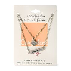 Look Fabulous Share Confidence Confident Bar and Crystal Heart Double Pendant Necklace | Icing