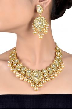 Silver Gold Plated Crystal Studded Paisley Pearl Drop Necklace Set