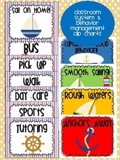 Nautical themed classroom & behavior management clip charts!