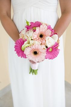 simple pink gerbera and rose bouquet - love the light pink gerber with the black center, pretty!