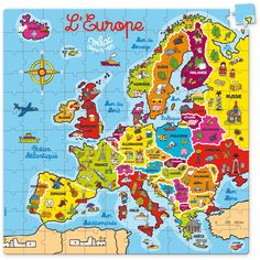 Appropriate map if you're puzzled by Europe. Ap Language, French Language, French Teacher, Teaching French, Puzzles, Ap French, Geography For Kids, Grande Section, Illustrations