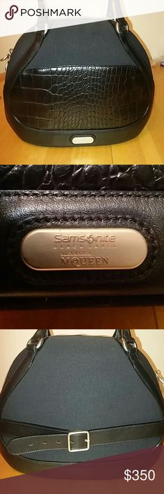 Alexander McQueen Samsonite Authentic Samsonite Black Label Alexander McQueen, this is a gorgeous canvas and  Leather piece. Can be used like a cosmetic purse or carry on. Has been used very gently just a few times. Note; the bottom side is bent, but  as soon you can put items inside you can no longer see the bend, its no big deal. i post more pic so you can see the flaws.   All offers will be consider. Samsonite Black Label Alexander McQueen Bags Travel Bags