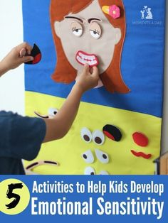 5 Activities to Help Kids Develop Emotional Sensitivity - Moments A Day - Five easy suggestions for helping kids learn to identify and be sensitive to emotions in themselves - Social Emotional Activities, Feelings Activities, Social Emotional Development, Learning Activities, Preschool Activities, Kids Learning, Toddler Development, English Activities For Kids, Emotions Preschool
