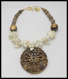 Lovely >> BALI - Handcarved Jade Pendant - Historic Fossilized Stegodon Bone Beads - Handmade Thai Buddha Beads 1 of a Variety Necklace
