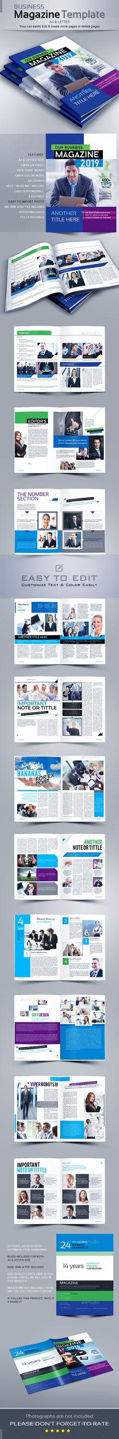 Magazine Template InDesign INDD - 24 Unique Pages, A4 Size & US Letter Size