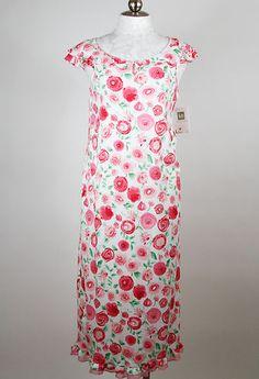 Karen Neuburger Pink & Green Mama Mia Long Nightgown Medium | eBay