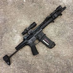 Noveske SBR with a Troy Industries PDW stock and Trijicon Airsoft Guns, Weapons Guns, Guns And Ammo, Survival Weapons, Survival Gear, Assault Weapon, Assault Rifle, Ar Rifle, Ar Pistol