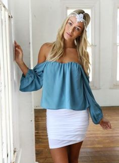 Teal Off the Shoulder Long Sleeve Top,  Top, teal  blue  off shoulder  long sleeve, Chic #teal #offshoulder #longsleeve #top #cute #love #summer #blue #trendy #style #fashion #ootd www.UsTrendy.com