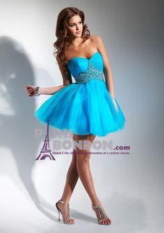 A-line Sweetheart Strapless Short/ Mini in Tulle Cocktail Dress