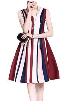 47056678761 ONTBYB Womens V Neck Sleeveless Stripe Slim Mid Swing Dress As Picture L