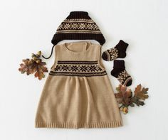 Knitted baby dress cap and socks camel/brown by tenderblue on Etsy