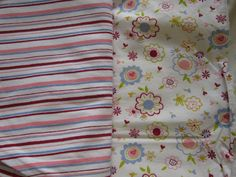 "gorgeous bright flower cord and matching jersey stripe. both 100% cotton, cord is nice and lightweight, makes beautiful wee dresses - will add a pic of one in a bit.  jersey - 60"" x 1m, £5 cord - 60"" x 1.4m plus small attached square, £7.50"