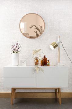 Miroir rond, miroir teinté, tendance cuivre, style vintage