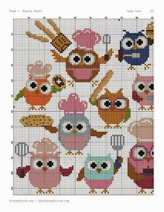 Owls part 1 Cross Stitch Owl, Cross Stitch Kitchen, Cross Stitch Alphabet, Cross Stitch Animals, Cross Stitch Charts, Cross Stitch Designs, Cross Stitching, Cross Stitch Embroidery, Cross Stitch Patterns