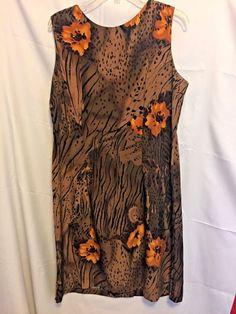 Dressbarn Sheath Dress Animal Print Size 16 Polyester Sleeveless Scoop Neck #Dressbarn #Sheath #WeartoWork