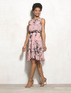 Petite Floral Faux Popover Dress